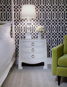 Schumacher wallpaper -- Imperial Trellis -- bedroom for sure.