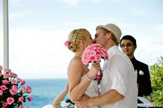First Kiss after wedding ceremony with Romantic Bali Wedding