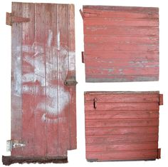 A variety of red painted wood barn doors in all shapes and sizes