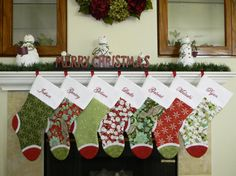 Personalized Christmas Stockings. Large custom stockings in red green white and teal