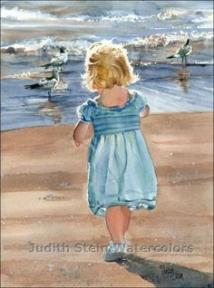 Judith Stein Watercolors - Children on the Beach ///nice watercolor for a beach cottage