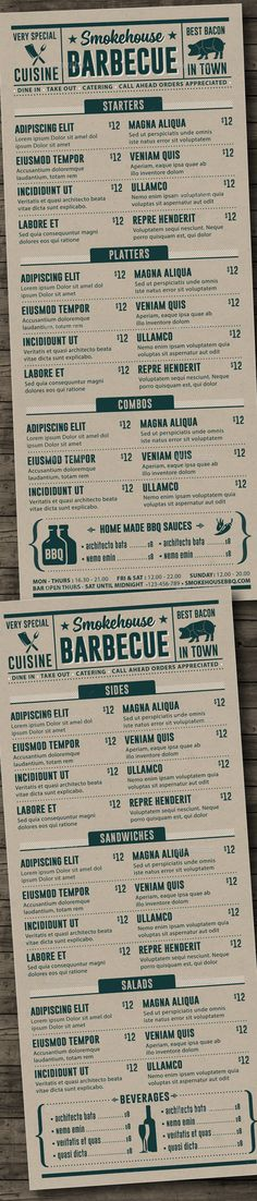 Tagged as baby back bacon barbecue barbeque bbq brazier chicken cuisine grill house meat menu restaurant ribs smoke house and steak. Bbq Menu, Cafe Menu, Restaurant Menu Design, Restaurant Branding, Menu Steak House, Cafeteria Menu, Drink Menu Design, Food Menu Template, Menu Templates