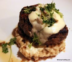 Mushroom Filet Mignon with white truffle butter sauce and micro chevril