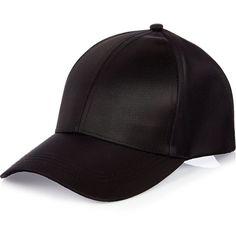 River Island Black nylon cap ($30) ❤ liked on Polyvore featuring accessories, hats, nylon cap, nylon snapback, cap hats, snapback hats and nylon hat