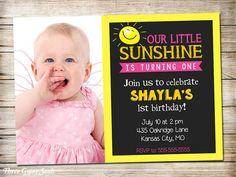 Sunshine Birthday Invitation Sunshine Invitation You Are My Sunshine Party