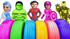 Learn Colors With Colored Tires Learning Colors Tires | Fun Superheroes Cartoons Finger Family Song