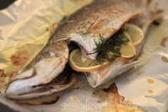 GoodyFoodies: Recipe: Oven-baked whole fish (barramundi) with lemon and dill