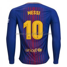 72aaf998 Billige Fotballdrakter Barcelona 2017-18 Lionel Messi 10 Hjemmedrakt  Langermet