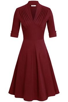 Women DressComila Vestidos Casuales V Neck Decor on Sleeves Detail Party Wine L >>> Continue to the product at the image link.