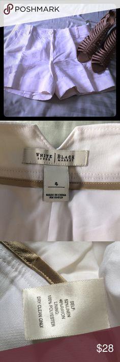 Get ready for summer! White linen shirts Black House White Market! White lenin shorts. Very small stain on upper lest side. Pockets on back White House Black Market Shorts Skorts