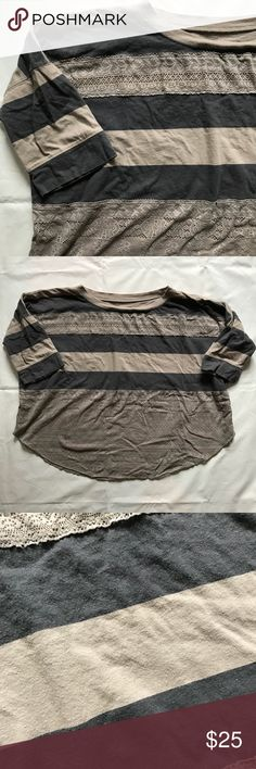 Free People oversized sheer lace layering top Sheer lace layering top by Free People. Featured gray and greige stripes and sheer lace lower portion. Looks great on, drapes nicely! No trades. No holds. Free People Tops