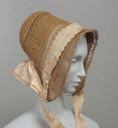 1840s - Bonnet - Deep cream colored fancy straw bonnet trimmed with ivory taffeta ribbons.