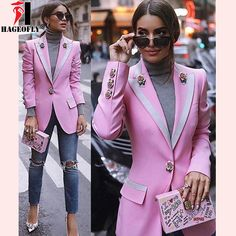 HAGEOFLY High Quality Fashion 2018 Designer Blazer Women Long Sleeve Floral Lining Rose Buttons Pink Blazers Outer Jacket Female-in Blazers from Women's Clothing & Accessories on Aliexpress.com | Alibaba Group