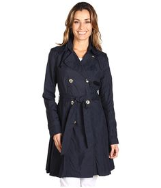 Vince Camuto Double Breasted Pleated Nylon Trench