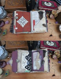 Pheasant Feathers, Junk Journal, Full Moon, Booklet, Scarlet, Blackberry, Ephemera, Mystery, Witch