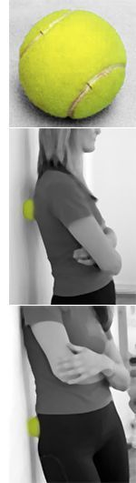 Tennis Ball Self Massage Technique - My massage therapist recommended this for the repeat-offender trigger point in my shoulder. It's amazingly effective (and, if you already have a ball, totally free).