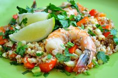 Bulgur Risotto with Corn and Shrimp - one of my favorite recipes! A little spicy, but great flavor! Bulgur Recipes, My Favorite Food, Favorite Recipes, Spinach Pasta, Light Recipes, Diet And Nutrition, Risotto, Shrimp, Healthy Eating