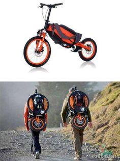 Praticidade e duas rodas. Bicicleta que da para levar como mochila!