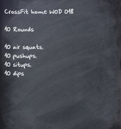 CrossFit home WOD. I like this for vacations