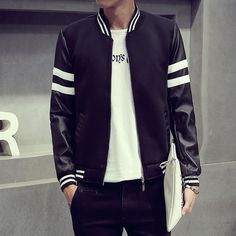2016 Fashion Designs Mens Jackets and Coats Male PU Leather Sleeve Patchwork Striped Boys Slim Fit Off White Baseball Jacket Man-in Jackets from Men's Clothing & Accessories on Aliexpress.com | Alibaba Group
