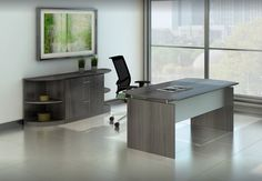 Medina Steel is perfect for the private office, including that home office.  Modern lines and colors.  Contact Margie at margie@inspireyourspace.ca in Calgary for more information. Office Furniture, Office Desk, Home Office, Furniture Design, Your Space, Corner Desk, Calgary, Modern, Room