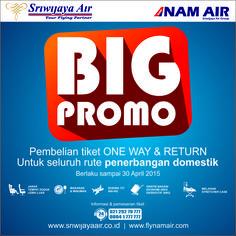 Nikmati penawaran menarik dari kami untuk pembelian tiket one way dan return. Promo ini berlaku untuk seluruh rute penerbangan domestik Sriwijaya Air Group. Informasi & Pemesanan Tiket : www.sriwijayaair.co.id ; 021-29279777/0804-1-777777 ; Kantor Penjualan Sriwijaya Air di Seluruh Indonesia ; Travel Agent Kepercayaan Anda.