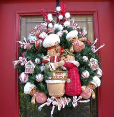 Christmas Wreath Gingerbread Decoration Family Sweet Treats Door Decor