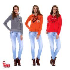 O casual e esportivo nunca esteve tão em alta como agora.  Aposte na tendência. Moletons em várias opções de cores e calça jeans coladíssimas arrematando o look! #Tenda, a sua moda.