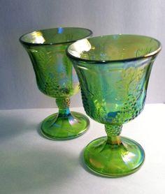 Vintage Iridescent Green Carnival Glass Harvest by TazamarazDesign