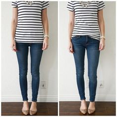 T-shirts are great for half-tucking too, as long as they're slightly oversized. A fitted t-shirt doesn't achieve the same look. The before picture looks good, I think, but the after picture has a whole different feel after the half tuck is added. It feels a little looser and relaxed, and makes your outfit say something, rather than just being blah.