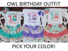 Owl Birthday Outfit! Baby Girl First Birthday Outfit/Owl Birthday Outfit/Custom Owl Birthday Outfit/Owl First Birthday Outfit/Custom Owl by RuffleDarlings on Etsy https://www.etsy.com/listing/224229961/owl-birthday-outfit-baby-girl-first