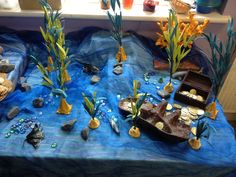 Indoor small world: under the sea with ship wreck & treasure.
