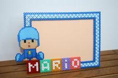 Personalized child decoration photo frame Pocoyo hama beads by DecorarteLeon