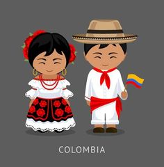 Illustration of Colombians in national dress with a flag. Man and woman in traditional costume. Travel to Colombia. vector art, clipart and stock vectors.