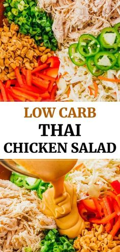 This chopped Thai Chicken Salad is a healthy and slightly spicy asian salad, tossed with peanut dressing made with sesame oil. Easy to make, with low carb ingredients like shredded cabbage, carrots, chicken (can be subbed with another protein), crunchy peanuts, and green onions. Great for keto and gluten free lunches. Click the pin to find the recipe and nutrition facts. #healthy #lowcarb #keto #glutenfree