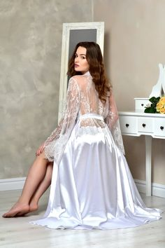 Long white bridal robe Satin lace back dressing gown Bridal shower gift for sister Kimono bride robe Long wedding robes for women - Source by ottipa - White Bridal Robe, Bridal Lace, Bridal Gowns, Wedding Night Lingerie, Bridal Lingerie, Lace Lingerie, Pyjama Satin, Satin Dressing Gown, Pin Up