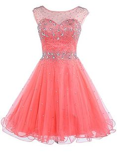 22a15c691fe Belle House Women Sheer Neck Homecoming Dresses 2018 for Juniors Coral Tulle  Short Prom Ball Gown