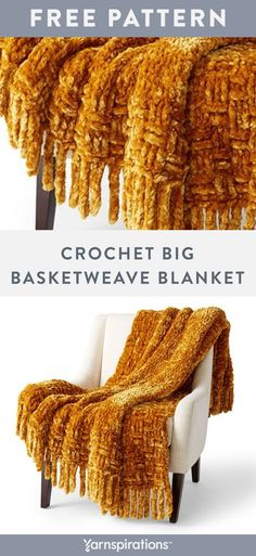 Free Crochet Big Basketweave Blanket pattern using Bernat Velvet Plus yarn. A chunky basketweave texture border and crocheted-on fringe define this inviting and luxurious throw. This easy pattern will have you practicing half double crochet front and back posts, basketweave stitch, crochet chain and slip stitch fringe techniques. Enjoy this statement piece of warmth in any room. #Yarnspirations #FreeCrochetPattern #CrochetAfghan #CrochetThrow #CrochetBlanket #BernatYarn #BernatVelvet Slip Stitch Crochet, Crochet Chain, Knit Or Crochet, Double Crochet, Hand Crochet, Free Crochet, Crotchet, Crochet Stitches For Blankets, Crochet For Beginners Blanket