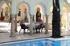 The Luxury of pool side dining is just eternal!!  Das Alsisar Haveli Hotel in Jaipur