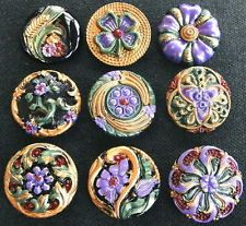 Collection of 9 Czech ANTIQUE (1920's) Glass Buttons #D748 - RARE !!!