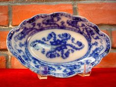 Antique 1800s REAL FLOW BLUE Relish Dish PLATE Floral UNMARKED Victorian Era