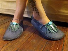 Woodland Moccasins Custom made with upcycled leather and hand sewn to the shape of your feet. by RustedAntlerDesigns on Etsy, $150.00
