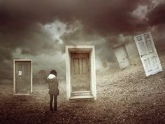 """""""Door to Door"""" a Digital Artwork/Photo-manipulation by Amandine VanRay from DeviantArt  This concept artwork is very interesting as it may signify several meanings. Each door seems mysterious, it may lead to different time? place?. With the girl added into the scene adds the feeling of loneliness and isolation and may mean that one of these doors maybe an opportunity for her to feel belong."""