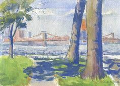 Brooklyn Bridge from Governor's Island, 5x7 in, Gouache on Paper by Julie Kessler