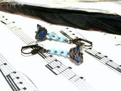 Blue Floral Earrings Beaded Jewelry Flower Earrings by LunaEssence