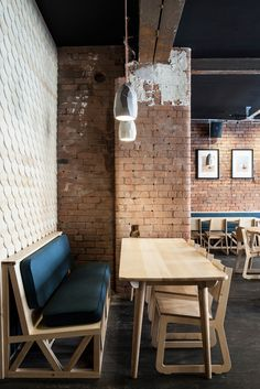 Common Manchester - great cafe interior design ideas for when I have my own cafe- bare brick walls and stripped wood