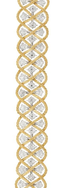 Two-Color Gold Bracelet, Buccellati   18 kt., the openwork bracelet composed of intertwining finely ribbed and braided yellow gold, centering stylized ridged white gold leaf and flower plaques, signed Buccellati, Italy, approximately 31.5 dwts. Length 6 3/4 inches. With signed box.