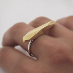 Architectural meteor geometric faceted sterling silver brass ring. Unique, modern and urban