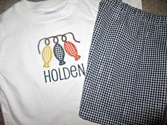 Boys Fish on a String Tshirt and Short Set by StitchinAllAbout