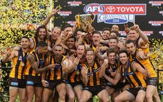 Hawks players celebrate with the Premeirship Cup during the 2014 AFL Grand Final match between the Sydney Swans and the Hawthorn Hawks at Melbourne Cricket Ground on September 2014 in Melbourne,. Get premium, high resolution news photos at Getty Images Football Team, Finals, Wonder Woman, Superhero, Celebrities, Hawks, People, Sydney, Club